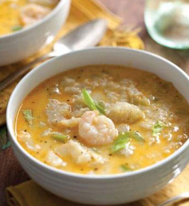 Cream of Mirliton and Shrimp Soup MAKES 10 SERVINGS   ·         8 mirlitons*, halved ·         ¼ c pecan oil ·         ½ c butter ·         1 c onion ·         1 c celery ·         1½ tsp minced garlic ·         1 lb sm  shrimp, peeled ·         1 tsp black pepper ·         1 tsp white pepper ·         1 tsp cayenne pepper ·         ½ tsp salt ·         ½ tsp ground ginger ·         ½ tsp basil ·         2 tbs flour ·         2 qts chicken broth ·         1 c half-and-half   *Mirliton
