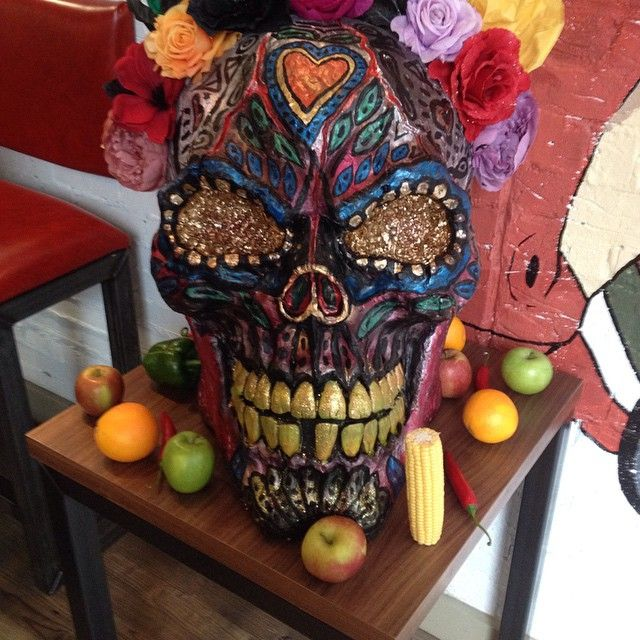 A huge sugar skull, decorated by the lovely Helen Stafford