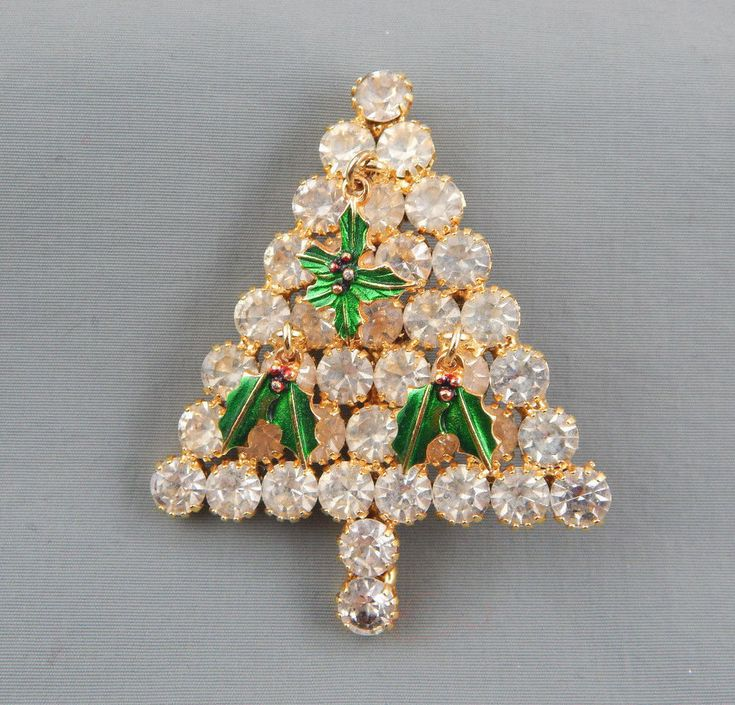 Vintage Clear Rhinstone w/ Enamel Holly Ornaments Christmas Tree Brooch Pin