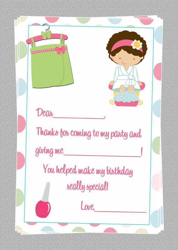 Spa Slumber Party Birthday Thank You Notes Cards