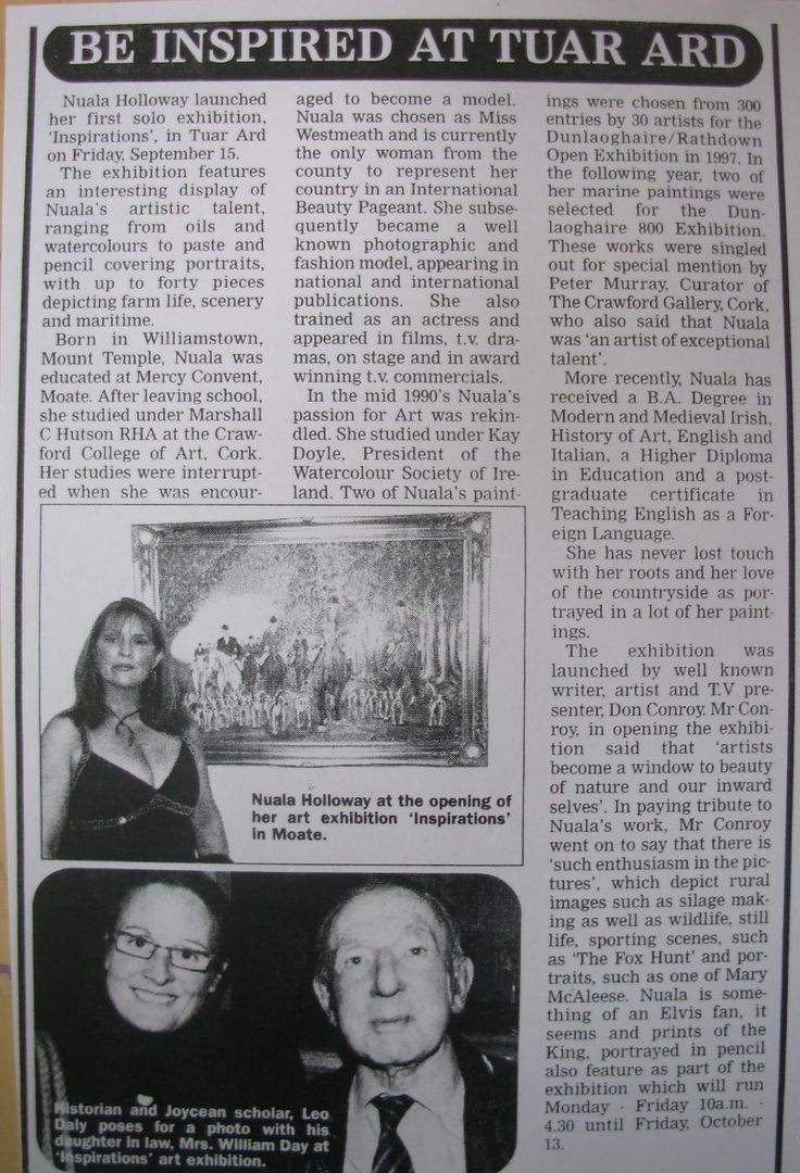 """FROM THE ARCHIVES: Regional coverage in the Westmeath Topic of Nuala's """"Inspirations"""" exhibition at Tuar Ard, Moate, Co. Westmeath in September 2006. The exhibition was launched by local historian Vera Hughes and artist and writer Don Conroy. #Artist #IrishArt #NualaHolloway"""