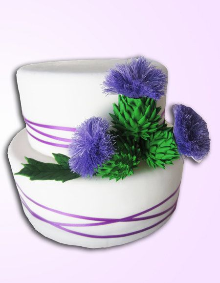 sugar Scottish Thistle cake topper a set of 3 by sweetbouquet