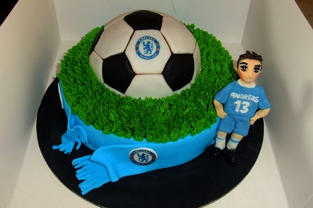 Chelsea soccer team cake for their biggest fan.