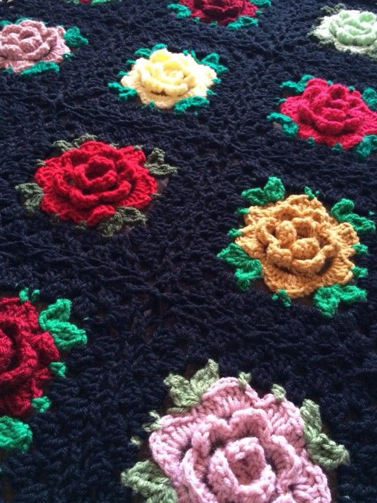 Rose Granny Square Blanket Free Crochet Pattern | The WHOot