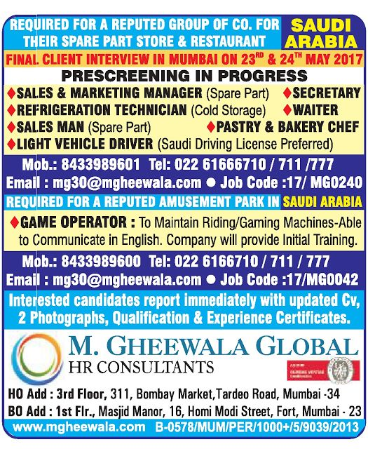 Gulf Jobs For All: Client Interview in Mumbai on 23rd & 24th for Saud...