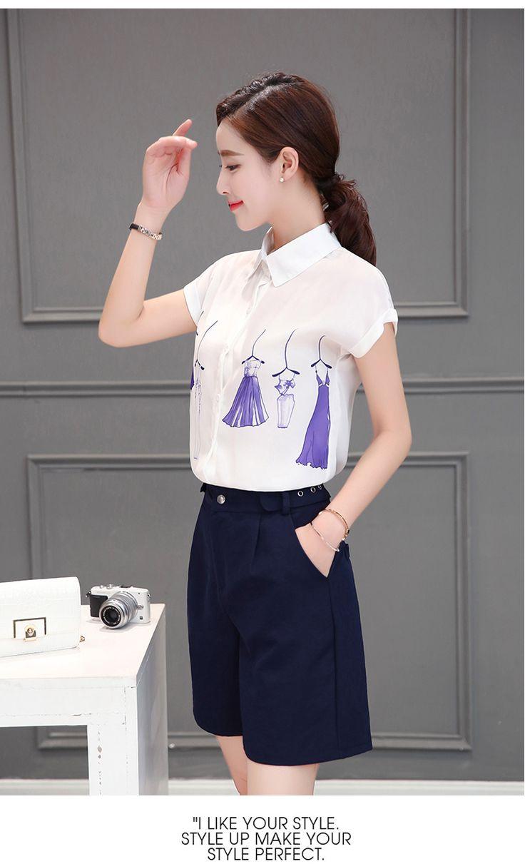 Досуг костюм женский 2016 лето новой женской моды темперамент с короткими рукавами рубашки шифон кусок широкие брюки ноги прилив -tmall.com Lynx