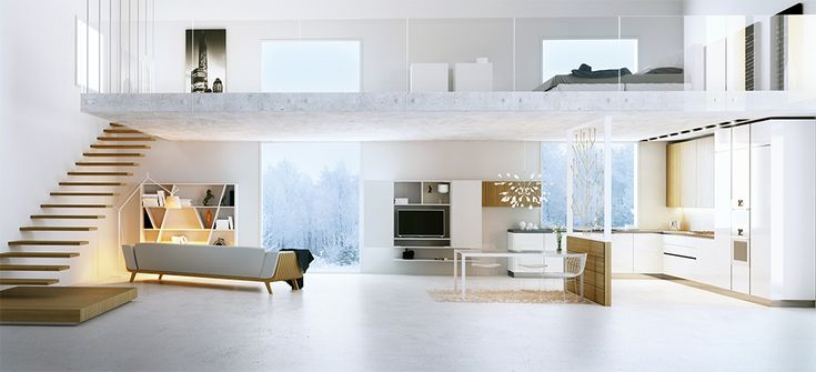 White kitchen Interior visualization by the photo: By A1 Design