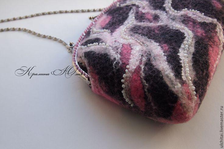 """Купить Валяная сумочка """"Розовая зебра"""" - розовый, в полоску, черный белый, зебра, розовая зебра"""