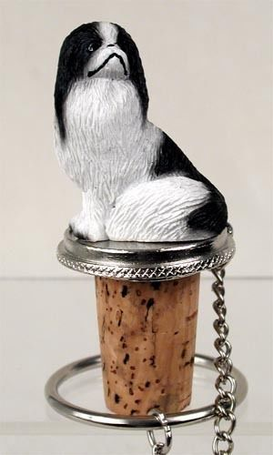 Hand Painted Elegant Black and White Japanese Chin Figurine Wine Bottle…