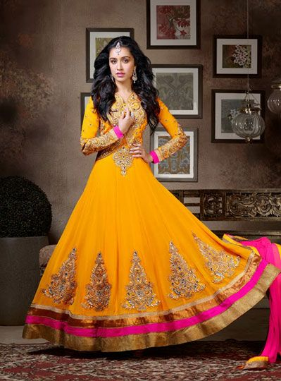 USD 133.21 Shraddha Kapoor Yellow Butta Work Long Anarkali Salwar Kameez 34117