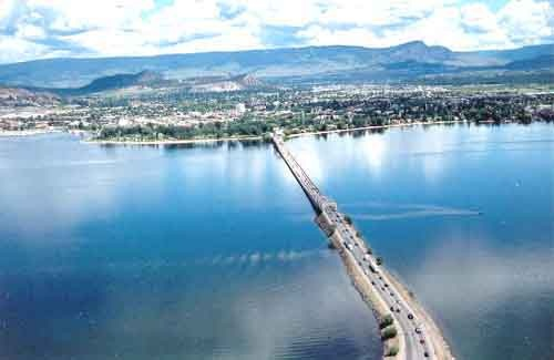 Kelowna, BC.  Bridge from West Kelowna to Kelowna on left is downtown Kelowna on right is Kelowna South