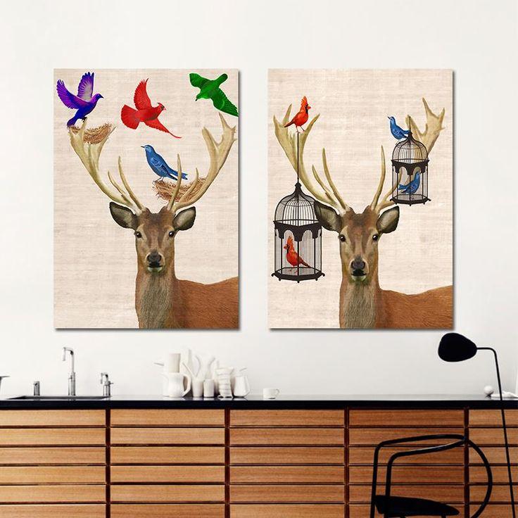 2 Unids Moderno Color Ciervos Dibujos Loro Jaula de Pájaros Decoración Pintura de La Lona Arte de La Pared Para Niños Sala de Decoración Sin Marco(China (Mainland))