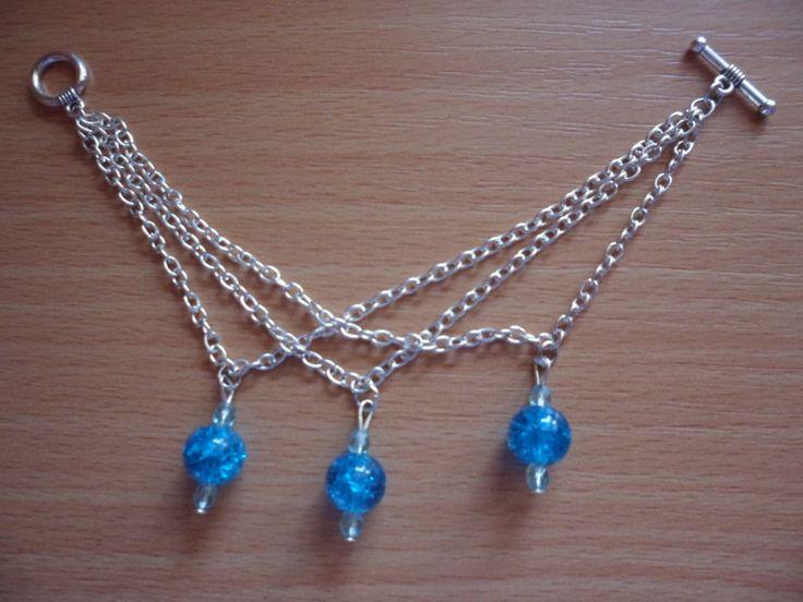 řetízkový náramek s modrými diamanty
