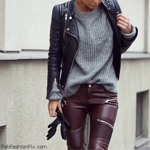 Black biker jacket, cozy sweater and leather pants for edgy and chic street style.