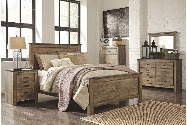 rustic barnwood style queen bedroom set with headboard and footboard