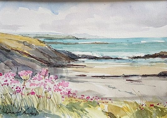 . Annabel Burton. Porthypwll Anglesey - pen and wash