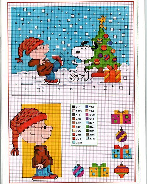 Charlie Brown Snoopy e i regali di natale punto croce gratis