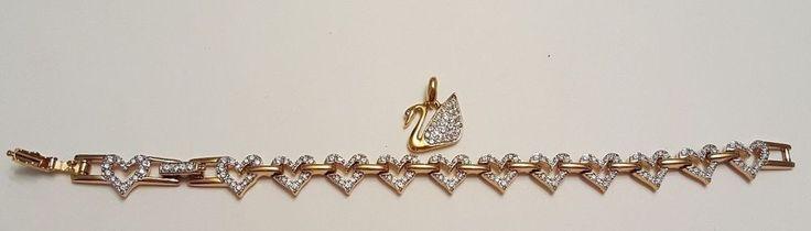 Swarovski Crystal Jewelry lot Swan Pendant Heart Bracelet Swan signed  #Swarovski #crystal #vintage #jewelry #ebay #swarovski