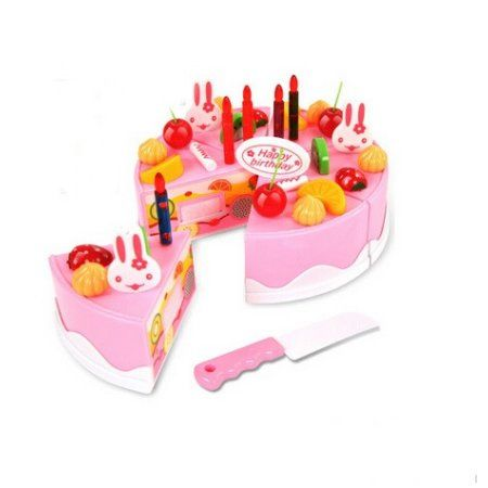 Merske MK10078 DIY Pretend Play Birthday Cake - Pink