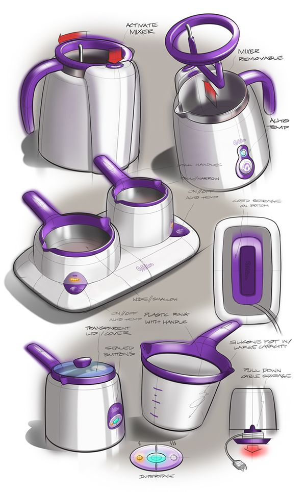 Product sketching by Mason Umholtz | Mason's made the sketches pop by his use of purple as an accent colour. A grey rear wash allows pure white refelctions on the products, caisdesign.com