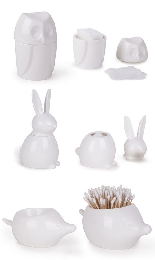 Ceramic Bath Accessories   Owl, Rabbit And Porcupine