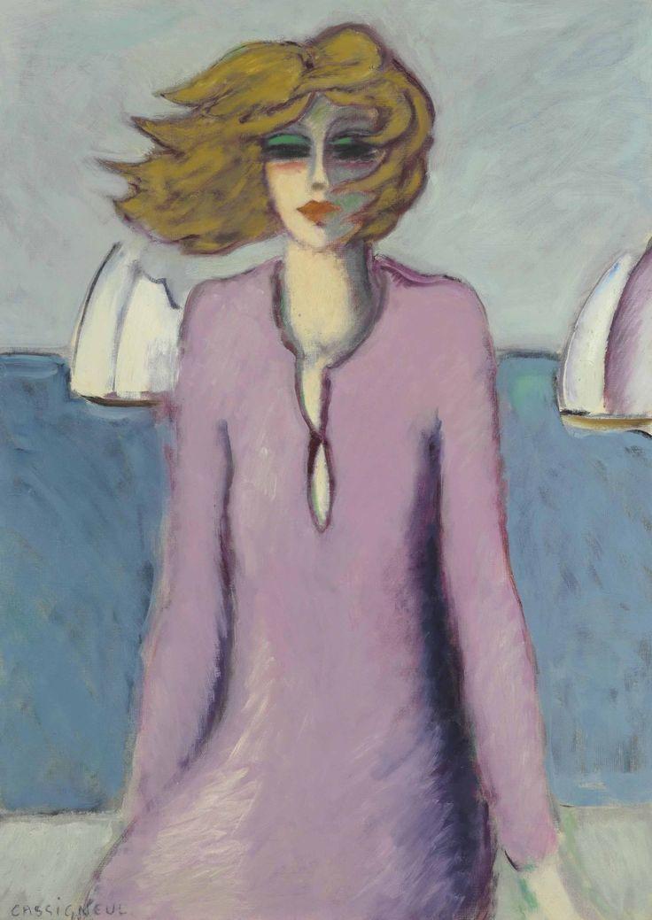 Jean-Pierre Cassigneul (b. 1935) La robe mauve (1969) oil on canvas 91 x 65.1 cm