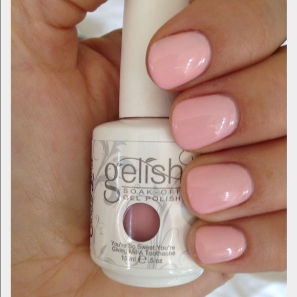 Gelish nail polish Color is called: you're so sweet you are giving me a toothache. Like new. Used it twice. Not dry. You do need a UV light or a LED light for this nail polish. Accessories