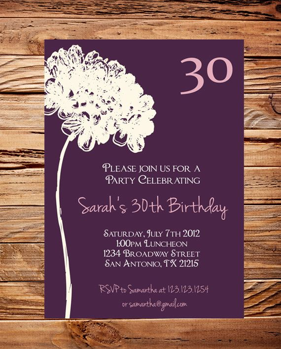 30th Birthday Invite 40th 50th Adult Flower Ivory Purple Event Invitation Milestone D12