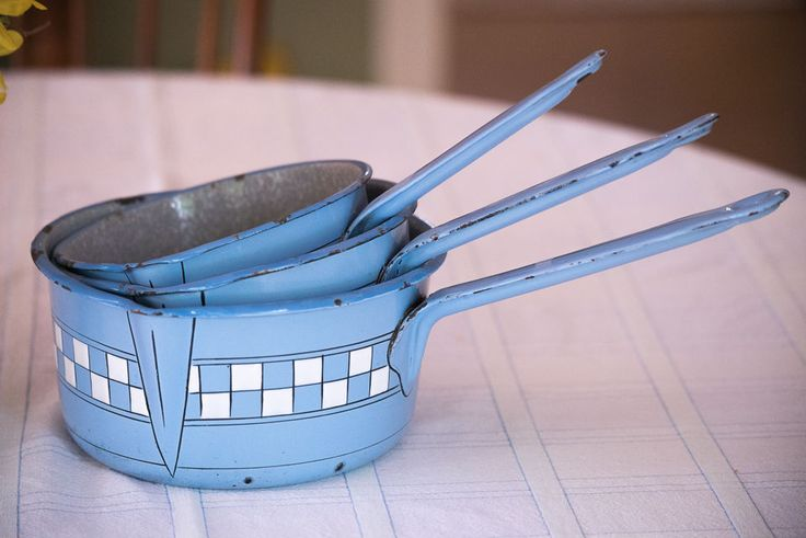 THREE 1920s French Enamelware Graniteware LUSTUCRU Blue Saucepans pots antique
