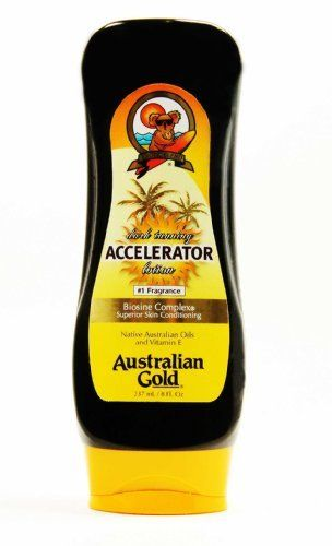 Australian Gold Dark Tanning Accelerator, 8 Fl Oz by Australian Gold. $10.00. Australian Gold Dark Tanning Accelerator, 8 fl oz. Austrailian Gold Dark Tanning Accelerator. Dark Tanning Accelerator Lotion. Native Austrailain oils with vitamin E. This exotic blend is a superb tanning lotion that allows natural pigmentation process to tan as fast as nature allows. Nutrients and moisturizers and protectants keep you skin hydrated and conditioned to maxium UV stimulated mel...