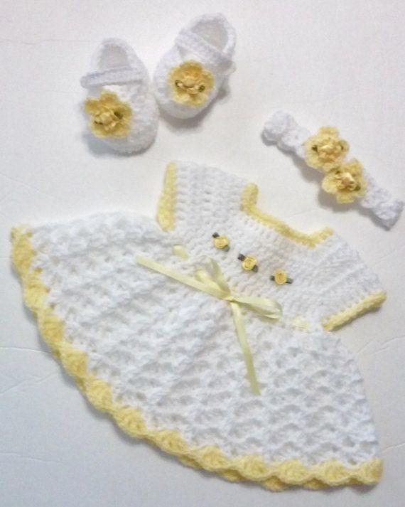 Crochet White Newborn Dress Set Sleeveless by TheShimmeringRose