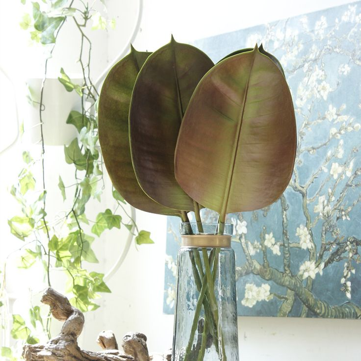 PU caoutchouc feuille plante Artificielle branche d'arbre feuille maîtresse accueil décor de mariage arrangement floral accessoire dans Artificielle et Fleurs Séchées de Maison & Jardin sur AliExpress.com | Alibaba Group