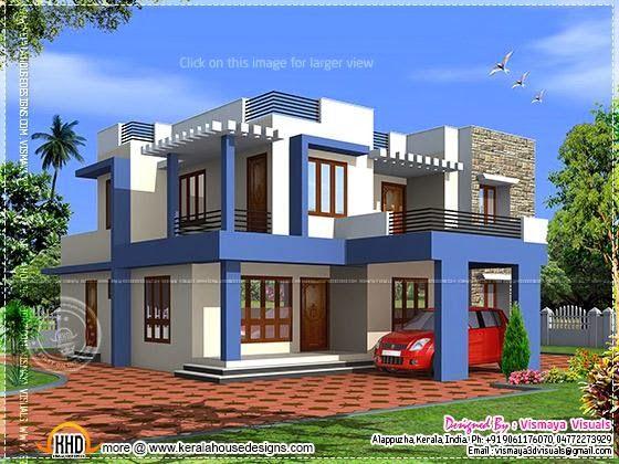 Kerala home design and floor plans: Box type 4 bedroom villa