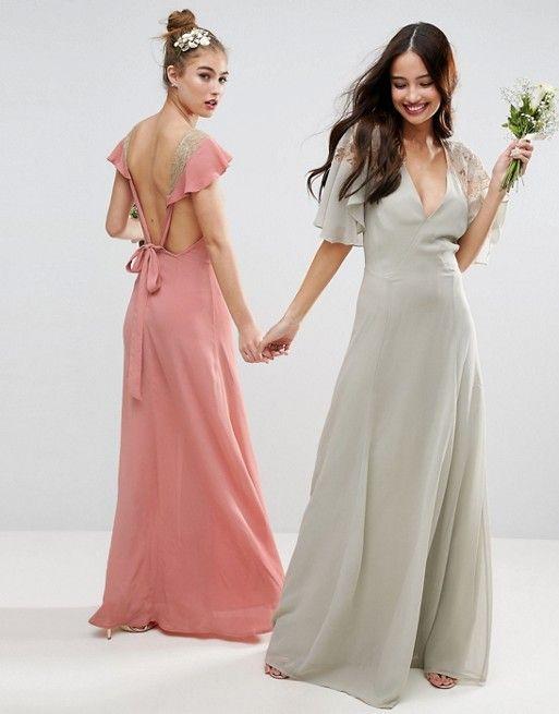 ASOS | ASOS WEDDING Lace Applique Cape Maxi Dress