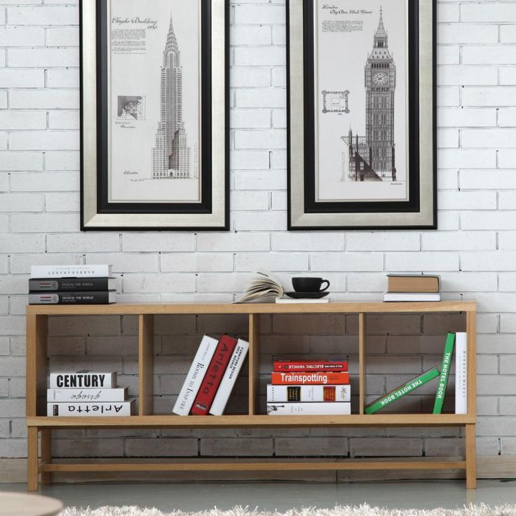 Jonas 4x1 Timber Bookshelf / Storage - Solid Oak Wood - 145x33x60cm