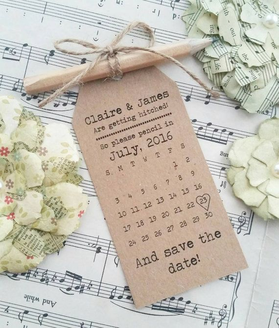 Personalised Save The Date or Evening Card Wedding Invitation with Envelope pencil us in tags rustic vintage wedding twine kraft or white