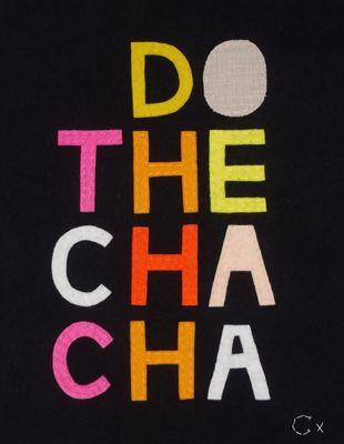 do the cha cha, felt on black wool for gorman & castle collaboration, 310mm x 370mm