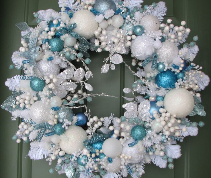 Ice Blue and White Christmas Wreath, Ornament Wreath, Front Door Decor, Seasonal Decor, Winter Wreath, Holiday Decor, Winter Decor by CelebrateAndDecorate on Etsy https://www.etsy.com/listing/174419746/ice-blue-and-white-christmas-wreath