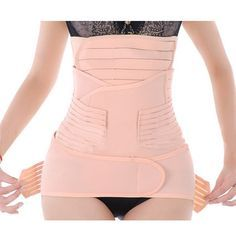 Generic Women 3 in 1 Postpartum Girdle Abdominal Binder with Pelvis Belt Gastric Belt Combined Breathable Recovery Belly Wrap Post Pregnancy Support Belt Belly Band Tummy Wrap After Birth Body Wrist Slimming Shaper Shapewear for Women