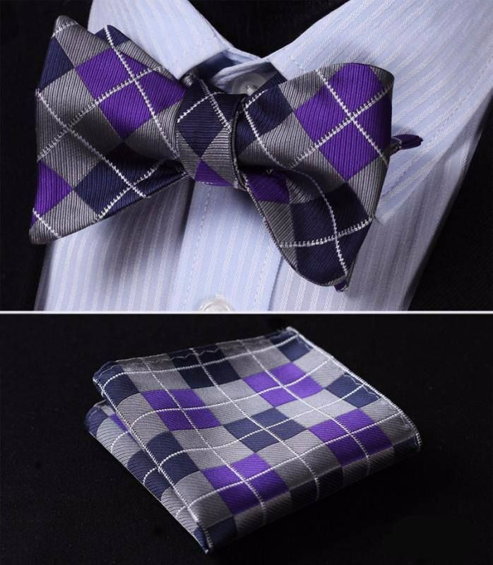 Silver and Purple Bow Tie with Pocket Square