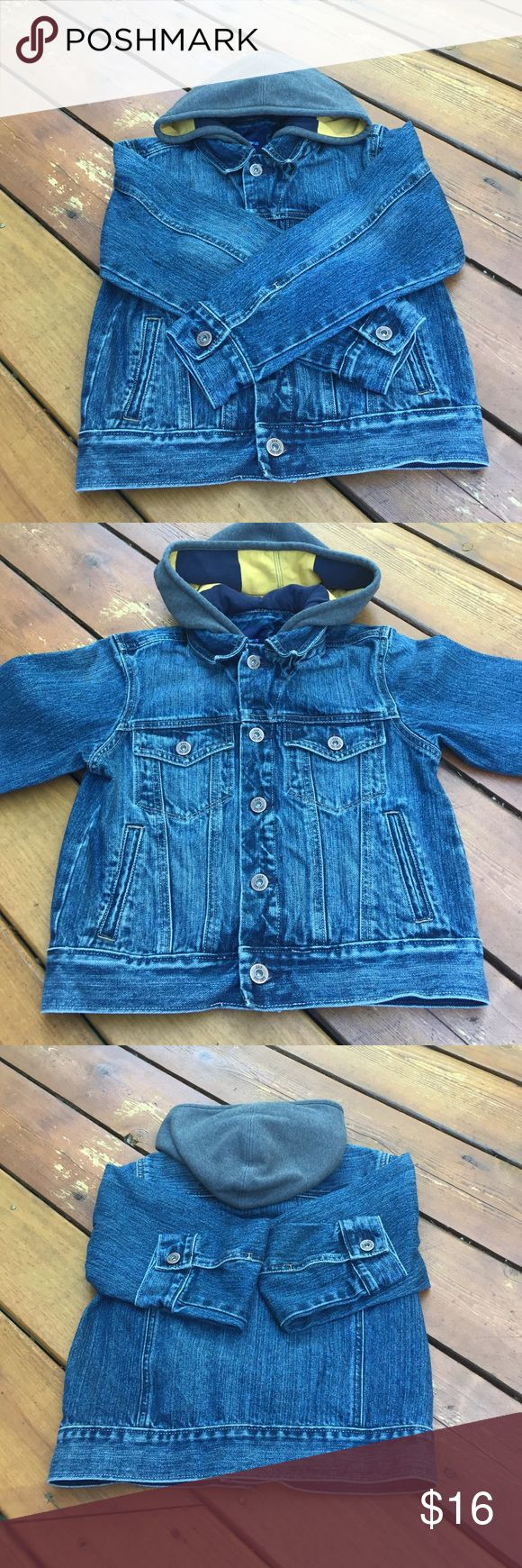 HOST PICK!Boy's Gap Denim Jacket 8/10/16 Boy's Gap Denim Jacket. So ruggedly cute! Size:Medium. Very gently used. EUC. Color is denim blue hood is not detachable the color us gray on outside & inside hood is navy blue & yellow stripe. Long sleeves. Button closure. 2 front button chest pockets & 2 front regular pockets. Shell 100% cotton. Hood 80% cotton. 20% polyester. Machine wash. Tumble dry. NO TRADES. Gap Jackets & Coats Jean Jackets