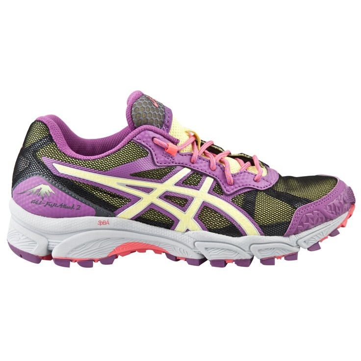 The Asics Gel-FujiAttack 2 Women's Trail Running Shoe. In Purple, Yellow  and Grey this is a tough off-road show for neutral and under-pronating  runners.