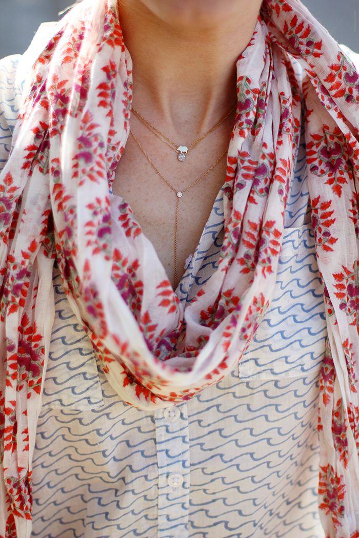 waves camp shirt, lulu violet scarf via rikshaw design, Ariel Gordon Piglet Necklace / Dana Rebecca Lauren Joy Necklace / Ariel Gordon Diamond Lariat Necklace | a piece of toast