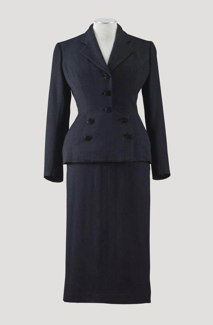 balenciaga haute couture 1950 tailleur pont en ottoman. Black Bedroom Furniture Sets. Home Design Ideas