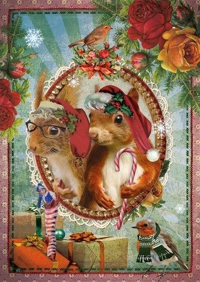 Kerstkaart - Eekhoorns