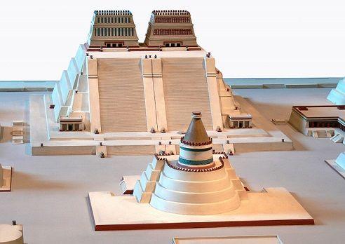 Recreación pictórica de cómo pudo haber sido el Templo Mayor y sus alrededores en la época de la Conquista. Destaca también el Templo de Quetzalcóatl de forma circular.