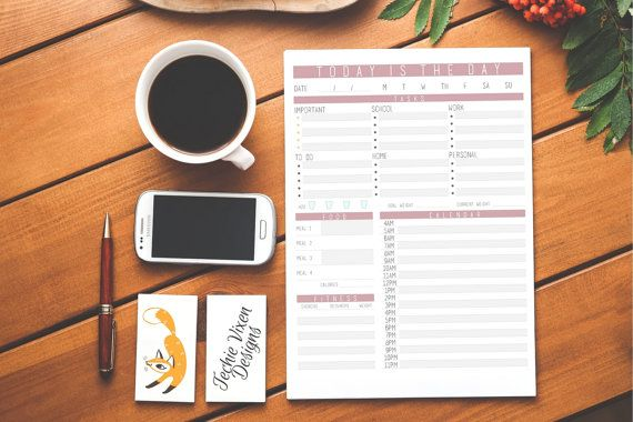 Daily Agenda Daily Planner Printable Planner by TechieVixenDesigns