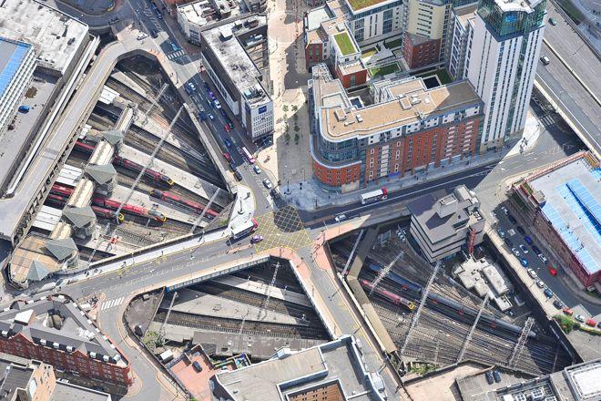 An aerial photograph of Birmingham New Street Railway Station