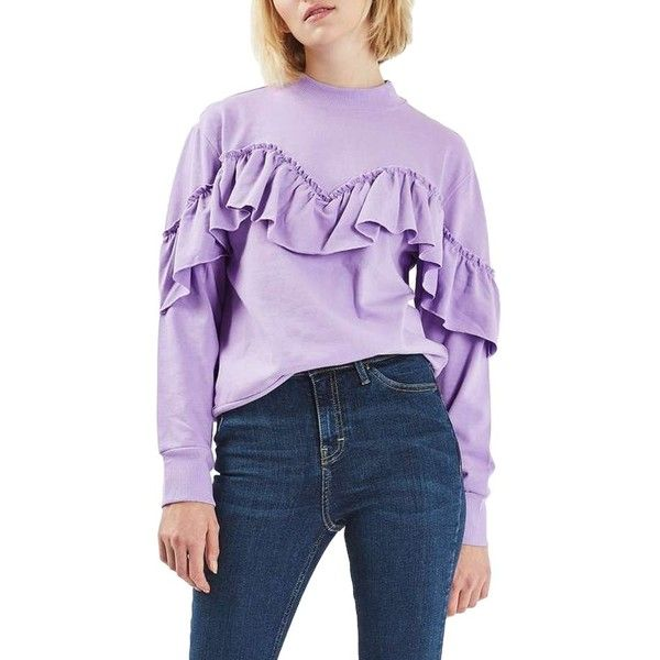 Women's Topshop Jersey Ruffle Sweatshirt (215 AED) ❤ liked on Polyvore featuring tops, hoodies, sweatshirts, lilac, purple top, sweetheart top, ruffle top, frilly tops and smocked top
