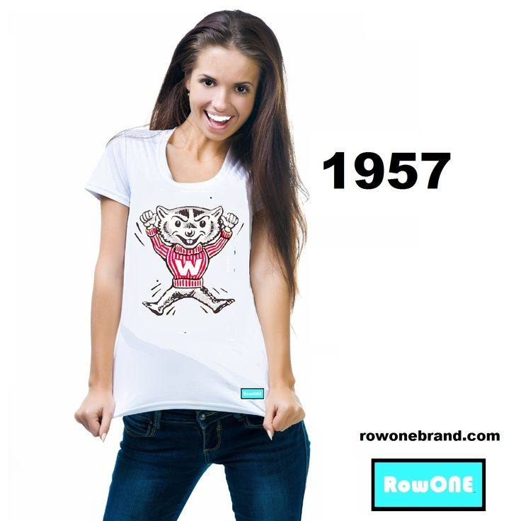 #Wisconsin #Badgers #gameday #vintage #fashion #marketing #growthhacking #Row1 Vintage 1957 Wisconsin Badger Ticket Tee™ by Row One.™ Row One Brand tees made from 3,000 historic tickets. Unique sports gifts for fans that have everything.